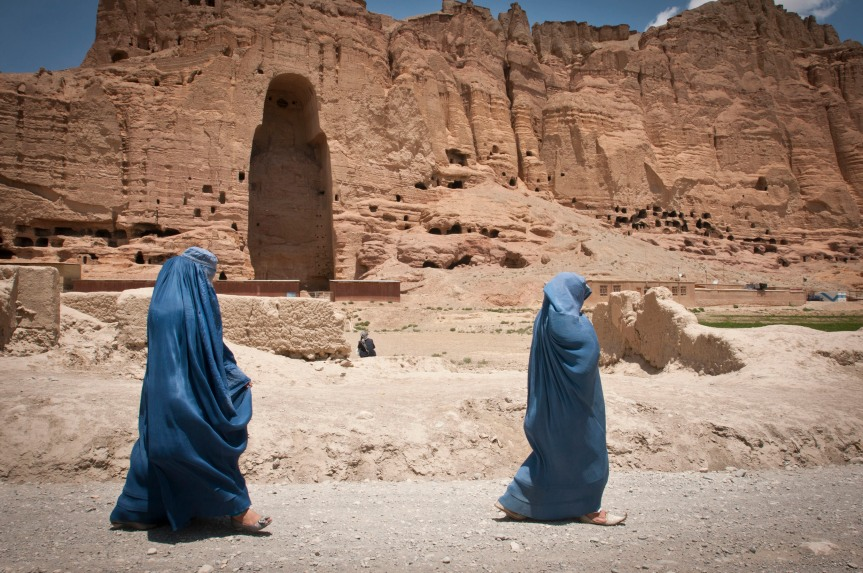 Giant standing Buddhas of Bamiyan still cast shadows